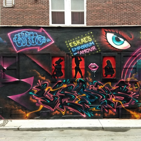 Segment 2/5 of a Under Pressure 2018 wall featuring Haks, Capes, Nemo, Lapin and Vedas